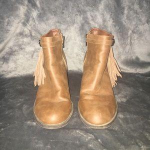 Brown Tassle Booties Chunky Heel